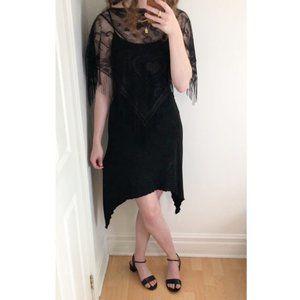 Stunning Vintage Lace Fringe Dark Midi Dress S/M